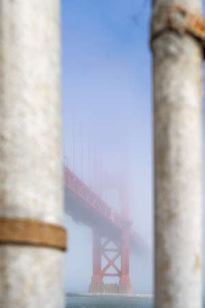 View of the Golden Gate Bridge in the fog