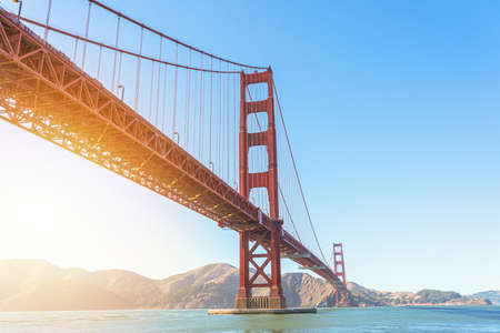 Beautiful view of iconic Golden Gate Bridge in San Francisco at sunlight Banco de Imagens