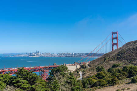 Skyline of San Francisco with Golden Gate Bridge Banco de Imagens