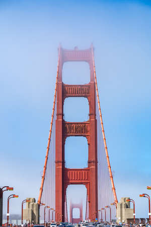 Iconic view of Golden Gate Bridge in San Francisco