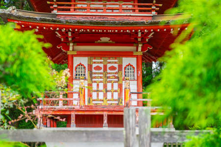 Close up of Pagoda in Japanese Tea Garden at Golden Gate Park, San Francisco
