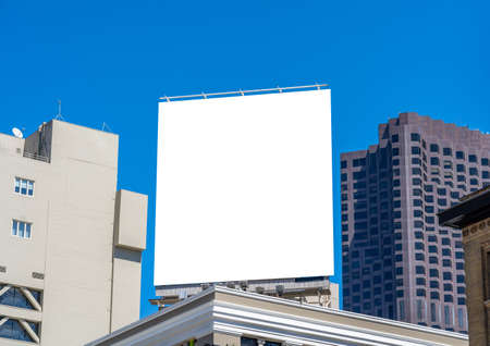 Square billboard on top of a palace, mockup.