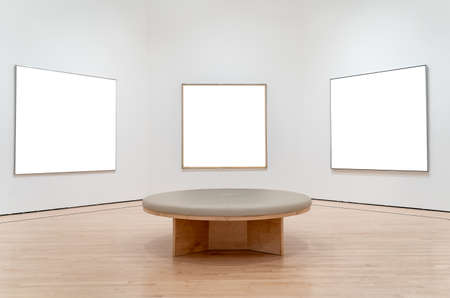 Three white mockup in a museum.