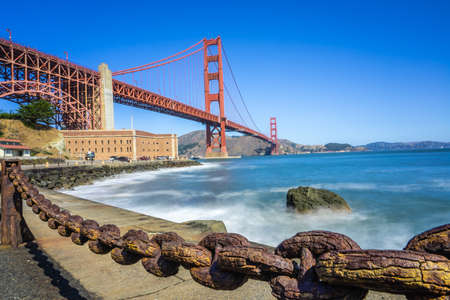 View of Golden Gate bridge and Fort Point in San Francisco.