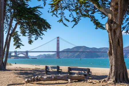 View of the Golden Gate bridge from the beach. 写真素材