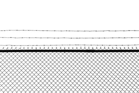 Metal fence with barbed wire isolated on a white background. 写真素材
