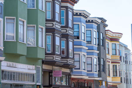 Colored house facades in San Francisco.