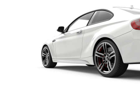 Back view of a generic and brandless modern car on a white background.3D illustration