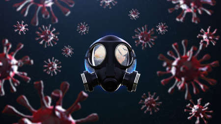 Planet earth with gas mask protect surrounded by viruses: 3D illustration