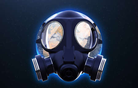 Planet earth with gas mask protect: 3D illustration 写真素材