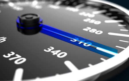 Close up of a car speedometer with the needle pointing a high speed. 3D illustration