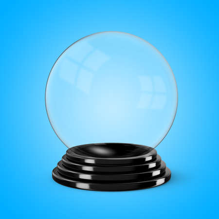 Glass crystal ball mounted on a black painted wooden base. 3D illustration 写真素材