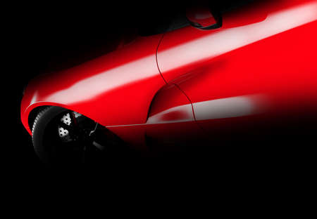Lateral view of a generic and brandless red car in the dark. 3D illustration