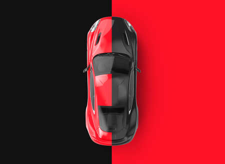 Red and black generic brandless car on a black and red background. 3D illustration
