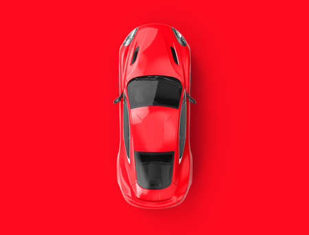 Red generic brandless car on a red background. 3D illustration