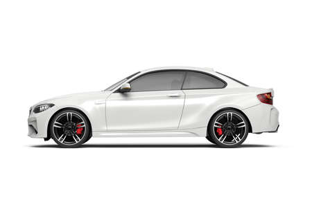 Generic unbranded white luxury city car, 3D illustration