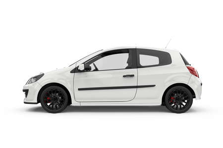 Generic unbranded white city car, 3D illustration 写真素材