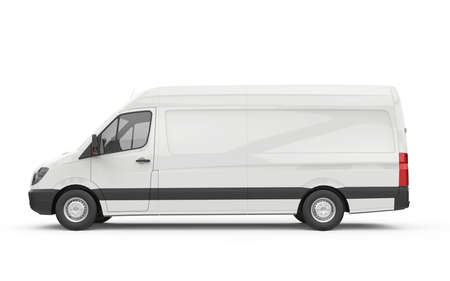 Lateral view of a van, mockup, 3D illustration 写真素材