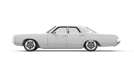 Lateral view of a generic unbranded old car, 3D illustration 写真素材