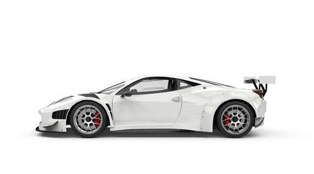 White generic unbranded sport car, 3D illustration 写真素材