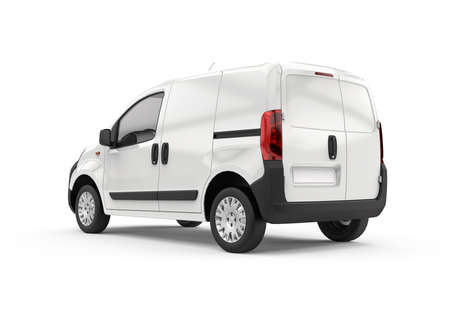 Back and lateral view of a car van, mockup, 3D illustration
