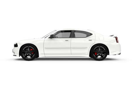 Generic unbranded powerful white sport car, 3D illustration