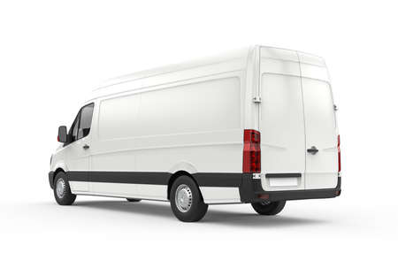 Back and lateral view of a van, mockup, 3D illustration 写真素材