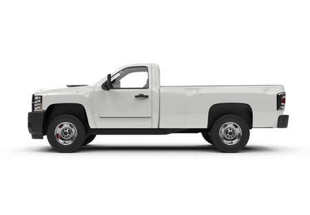 Lateral view of a generic white truck car, mockup, 3D illustration