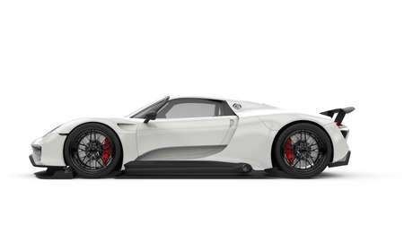 Generic unbranded white powerful sport car, 3D illustration