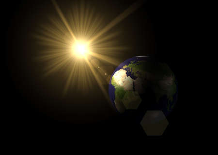 Planet earth and sun  Stock Photo - 4932294