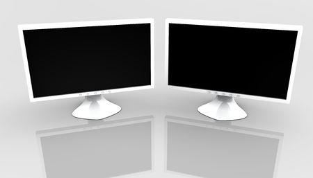 Two flat panel lcd computer monitor