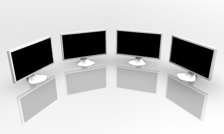 Four flat panel lcd computer monitor