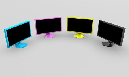 Four CMYK flat panel lcd computer monitor