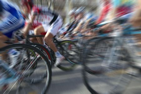 action blur: Bike race with radial blur