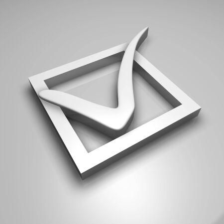White check mark, 3d render photo