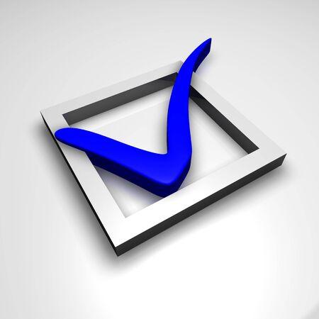 Blue check mark, 3d render photo