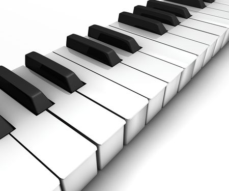 Piano keyboard, 3d render Stock Photo
