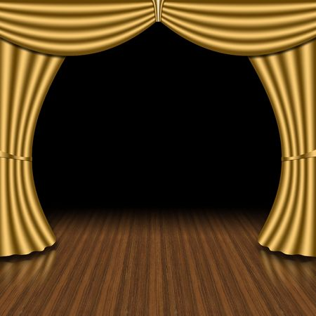 Golden curtain, opening scene concept. Stock Photo