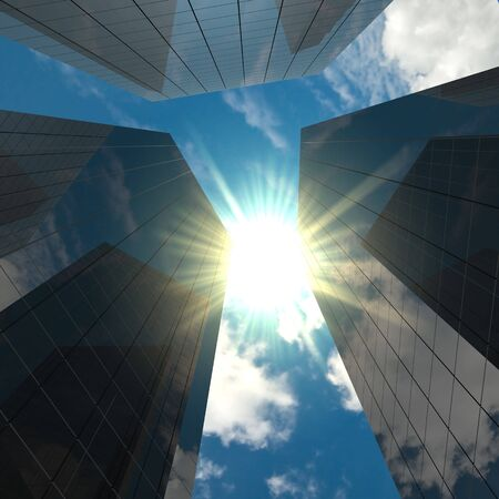 Corporate buildings with blue sky, clouds and sun