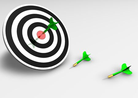 Target. Concept of marketing success and business. 3d isolated object.