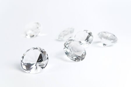 Group of diamonds on a white background. Stock Photo