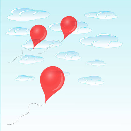 Red balloon on blue sky background Illustration