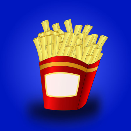 french fries:  french fries with copyspace Illustration
