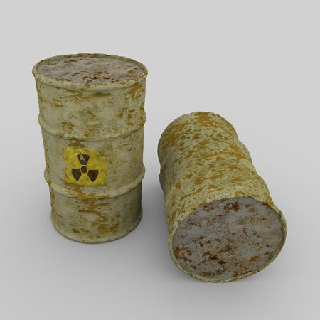 barrels with nuclear waste: Radioactive barrels
