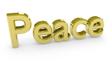 peacefully: Peace, made in 3D software, isolated on white background.  Stock Photo