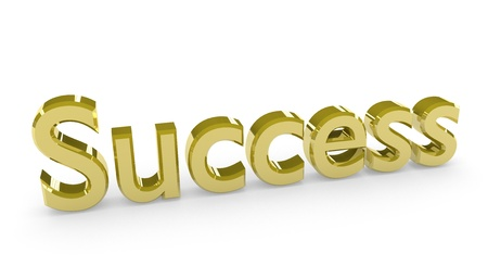 Success, made in 3D software, isolated on white background.  Stock Photo