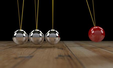 newton cradle: Newton cradle 3d render Stock Photo
