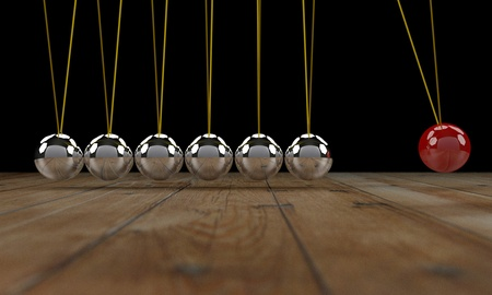 Newton cradle 3d render photo