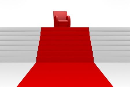 Red armchair at the end of red carpet. Success concept