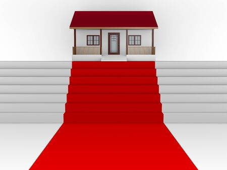 Upwards stairs with red carpet and your house